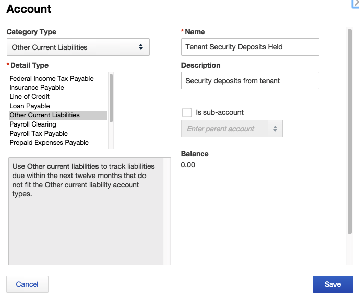 Create Liability Account
